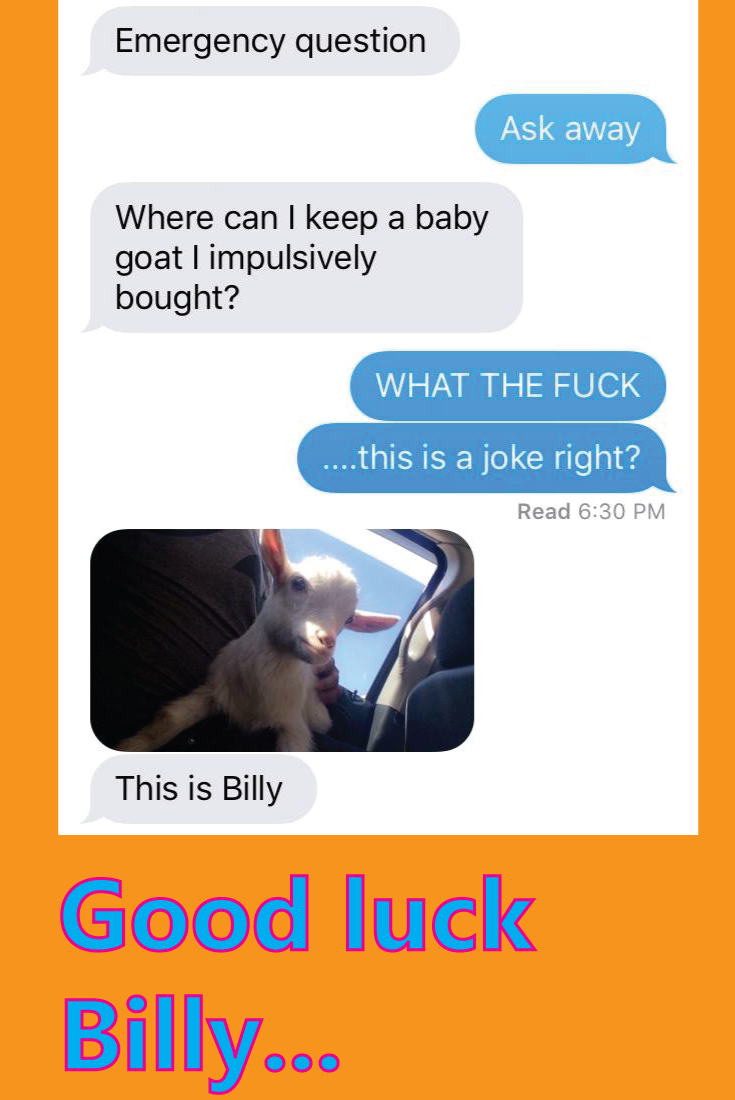good luck billy goat impulse buy text message